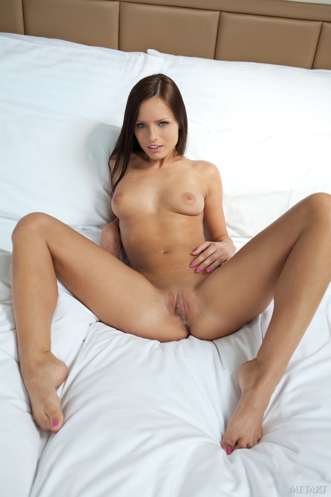 Brunette girl nude bed legs spread agree, the