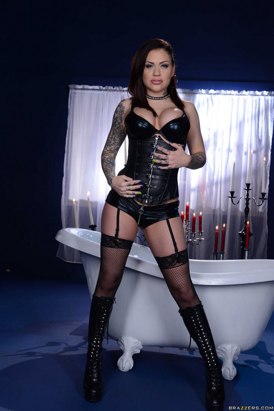 Mistress Karmen Karma In Corset And Stockings Posing In -2454