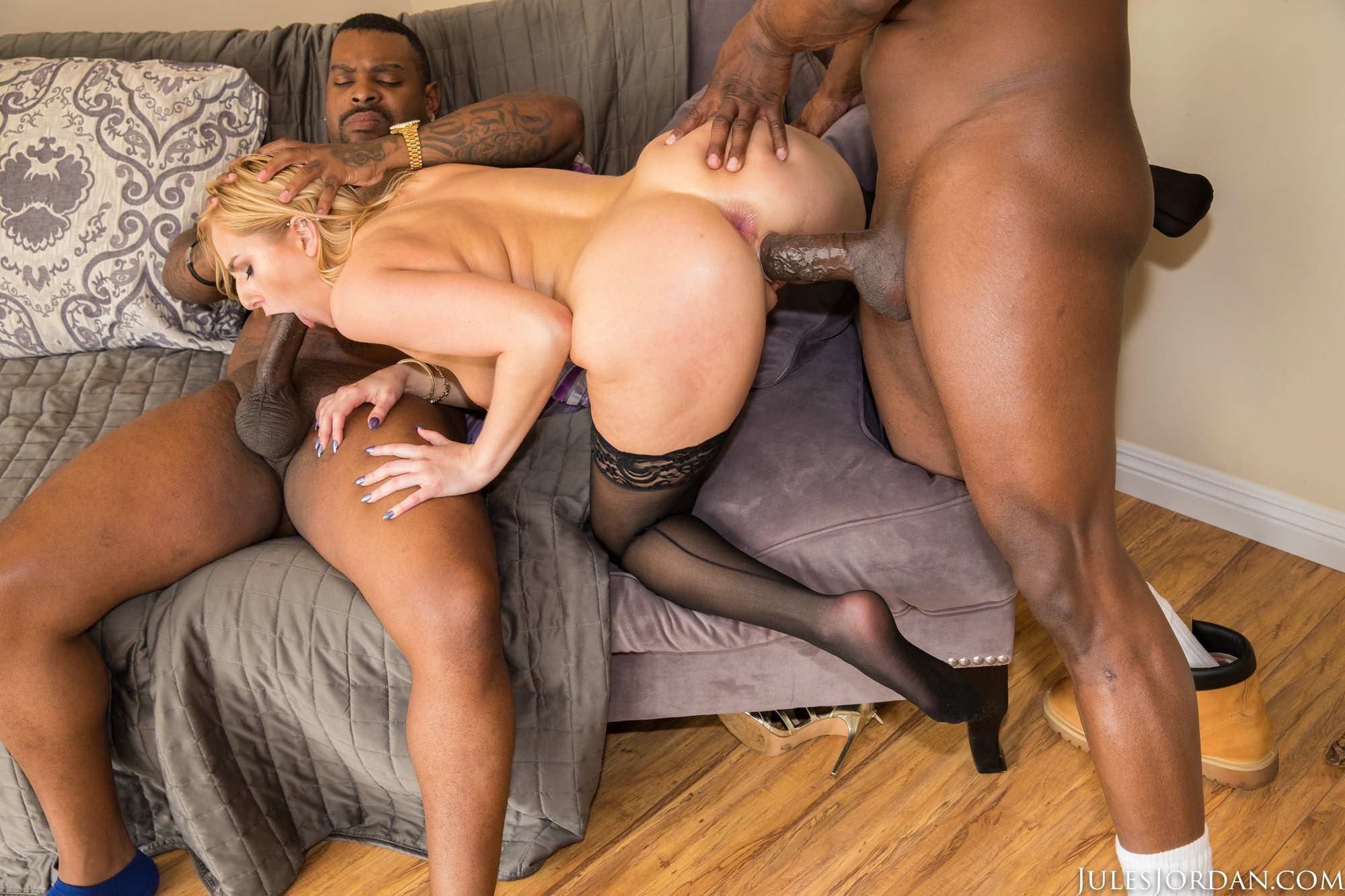 Two Black Dudes Fuck Every Hole Of Slutty Mature Skank Alexandra Silk Hot Photo
