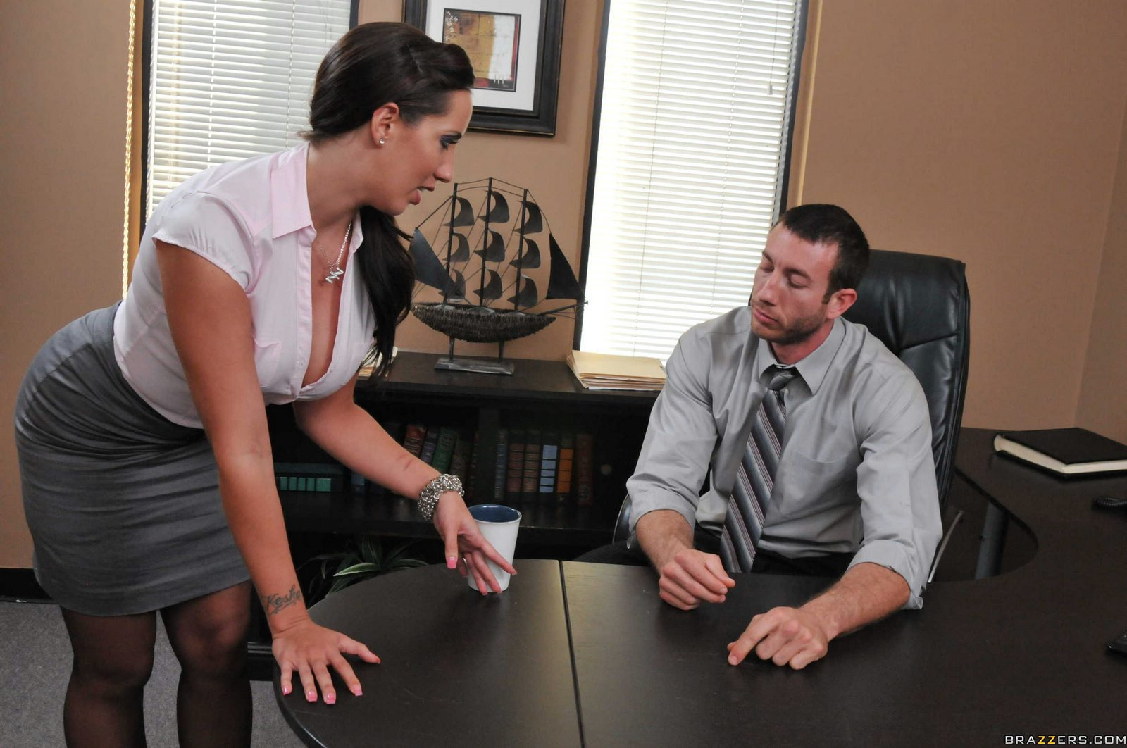 Secretary Kelly Divine enjoying hot sex with her boss in the office.