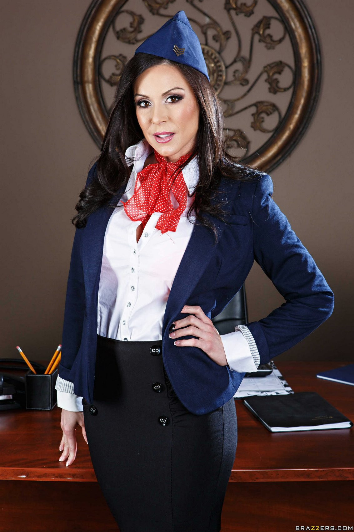 Hot flight attendant Kendra Lust stripping in the office ...