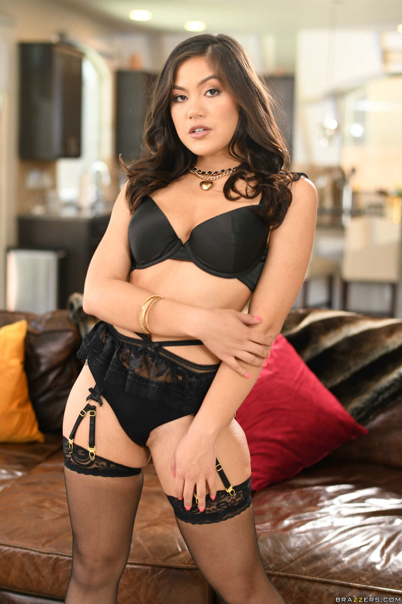 Kendra Spade Posing In Sexy Black Underwear, Stockings And -6662