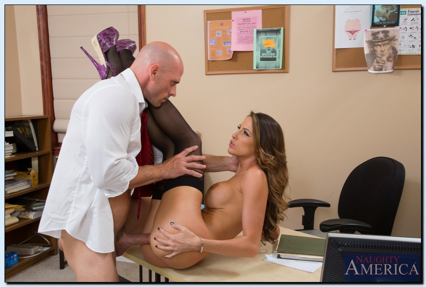 image Lovely office lady enjoys two dicks at once