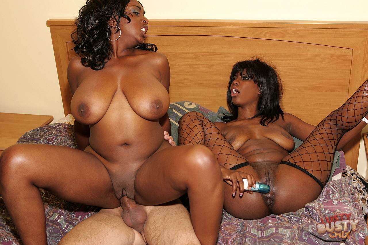 Lady Armani and Ms Panther fucking with a lucky white guy.