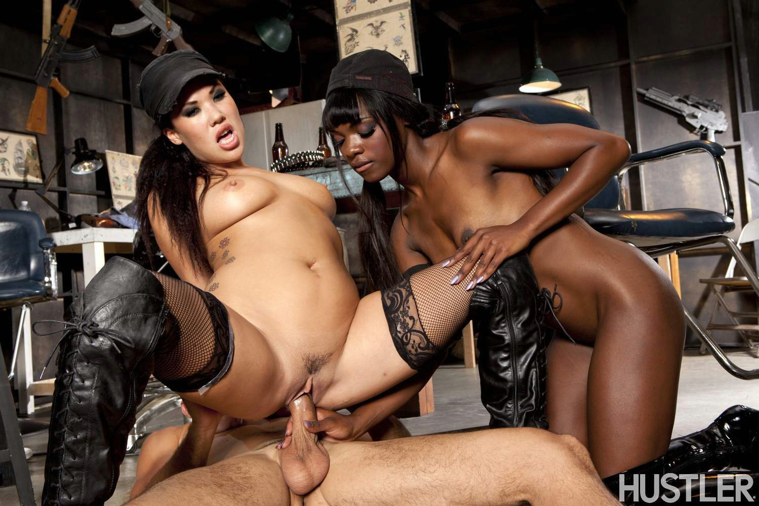 All ana foxxx in sizzling hot interracial threesome concurrence What