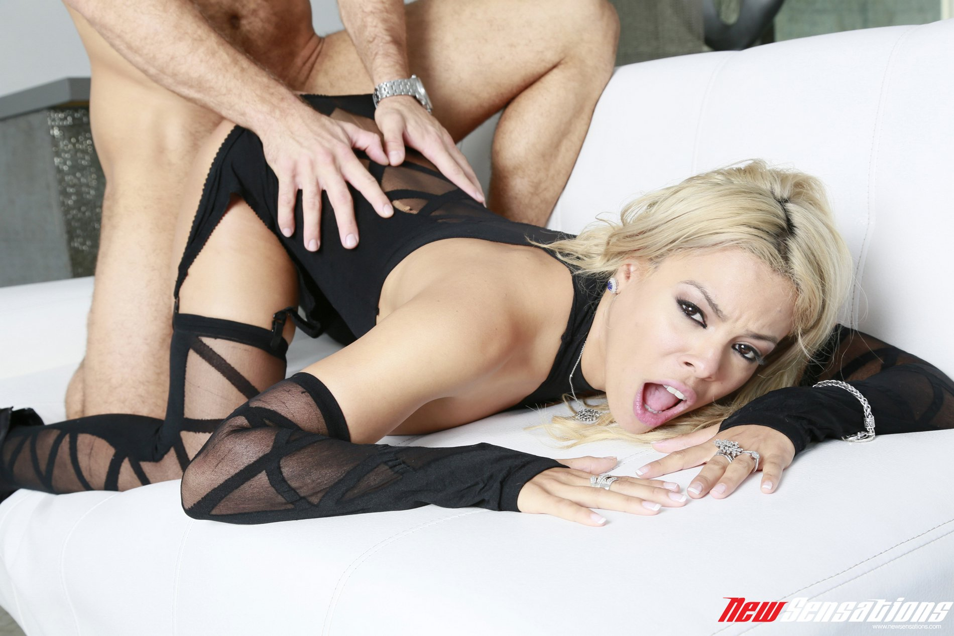 Hot Blonde Luna Star In Sexy Black Lingerie And Stockings Gets