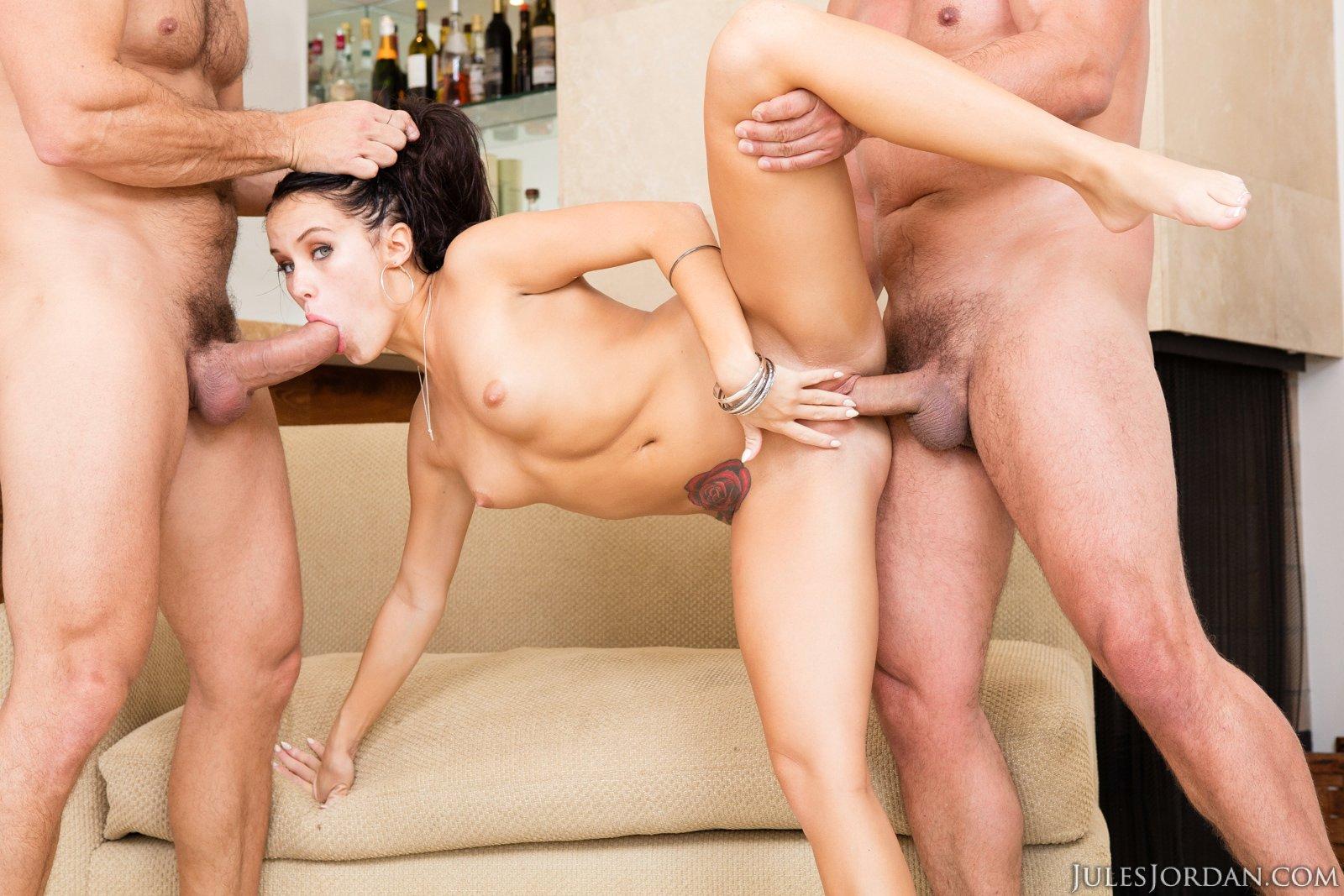 Pretty brunette Megan Rain sucking and fucking two huge ...