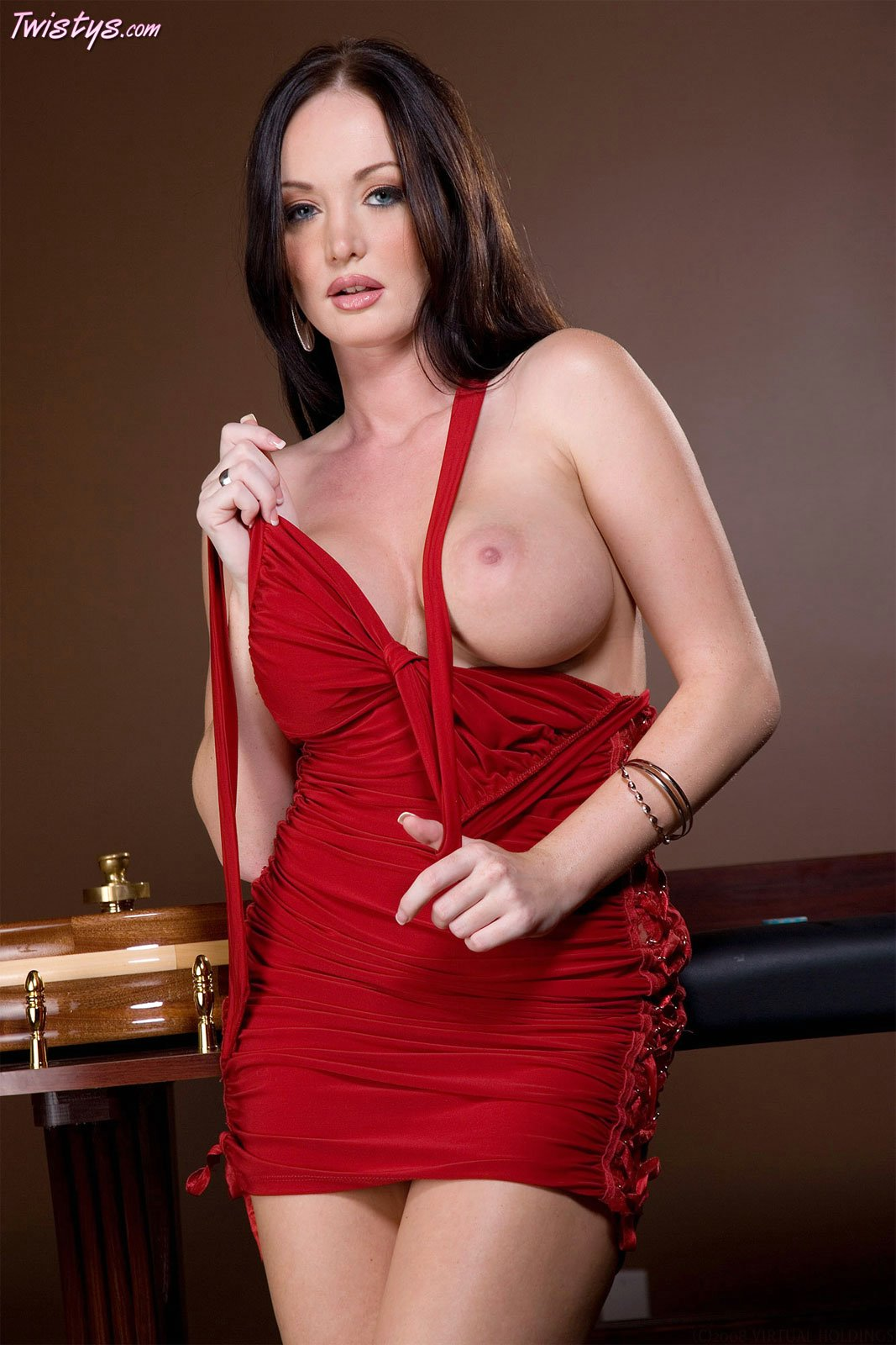 Melissa Lauren in sexy red dress stripping and posing ...