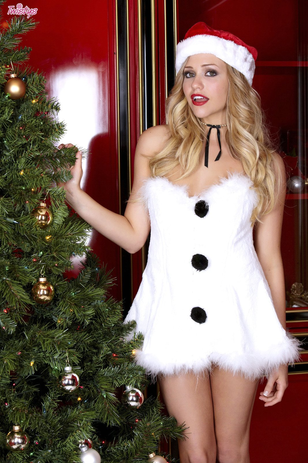 Mia Malkova in christmas outfit posing for your pleasure ...