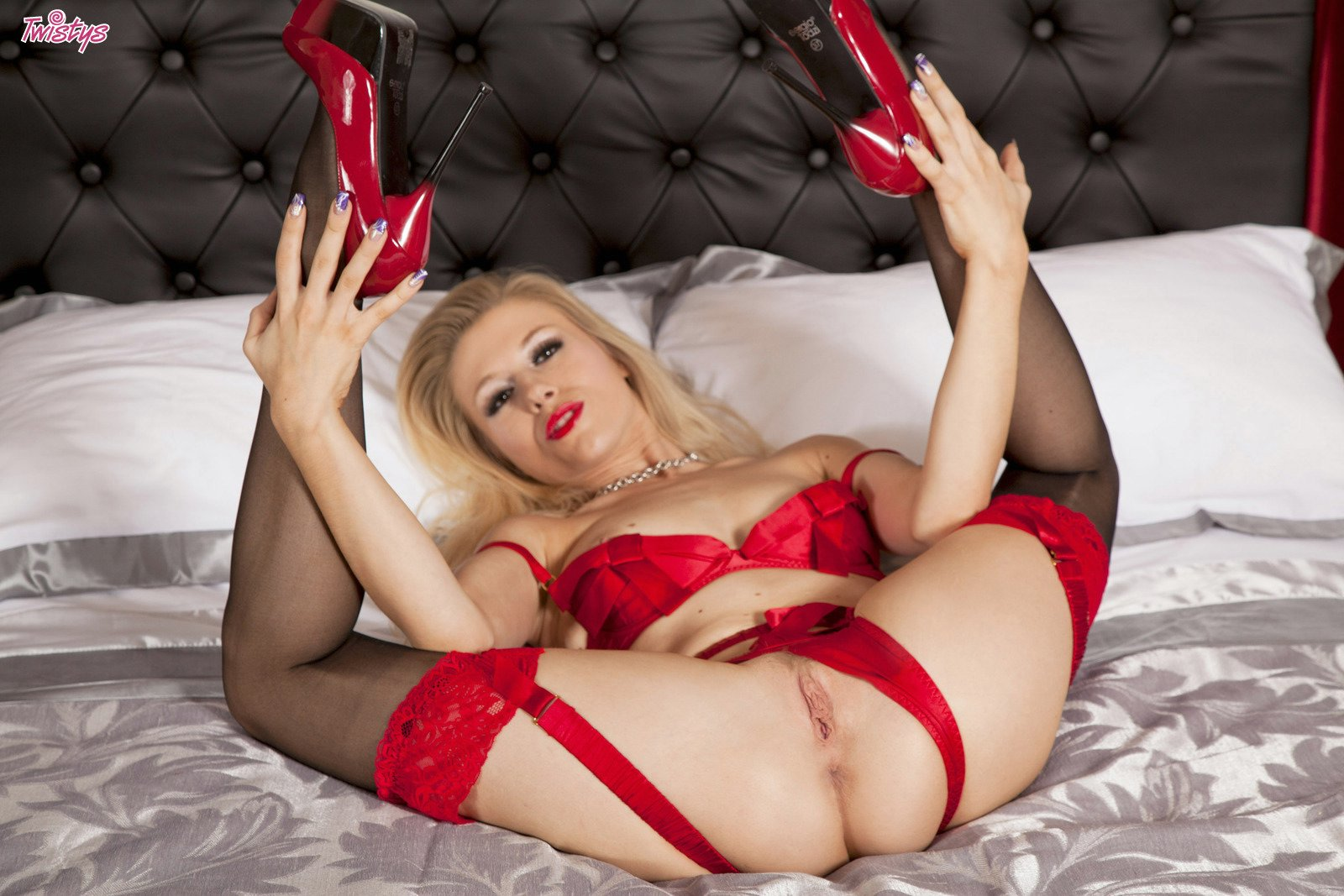 Red high heels and stockings porn images think