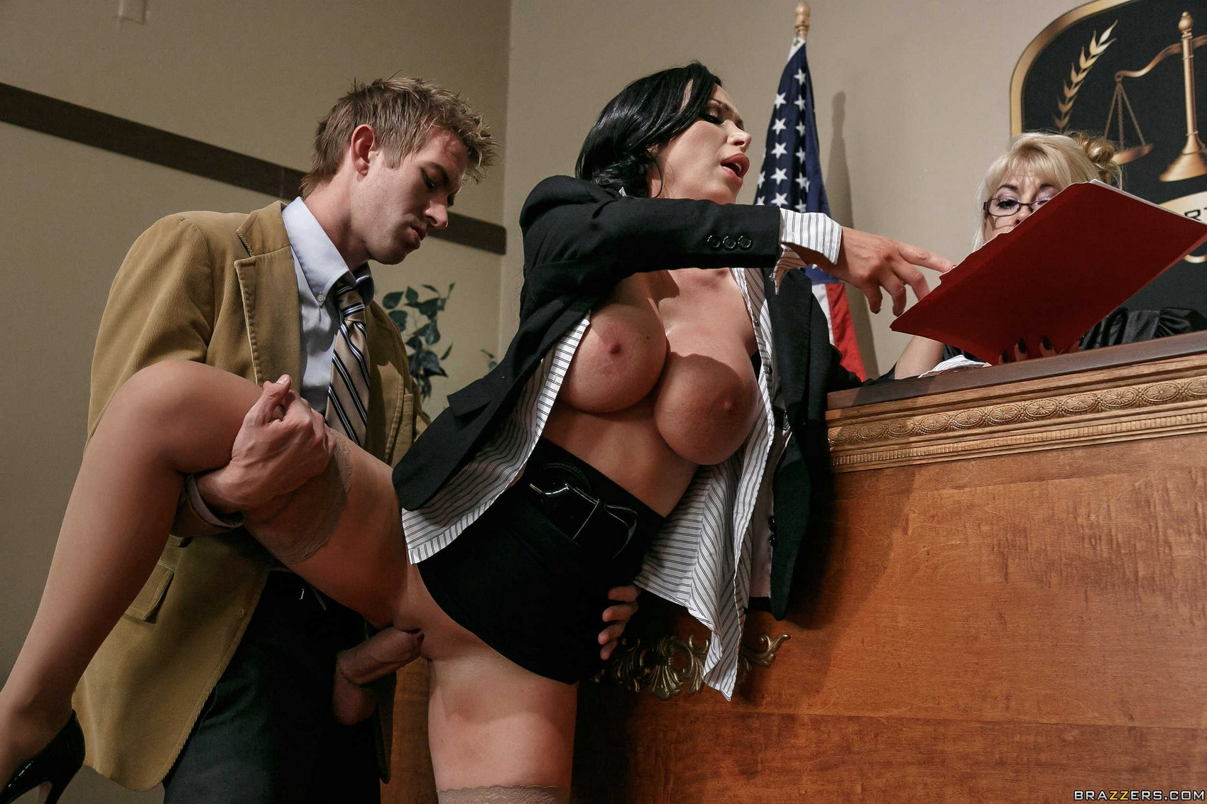 image Sexy lawyer gets on her knees to suck a huge fucking pole for your pleasure