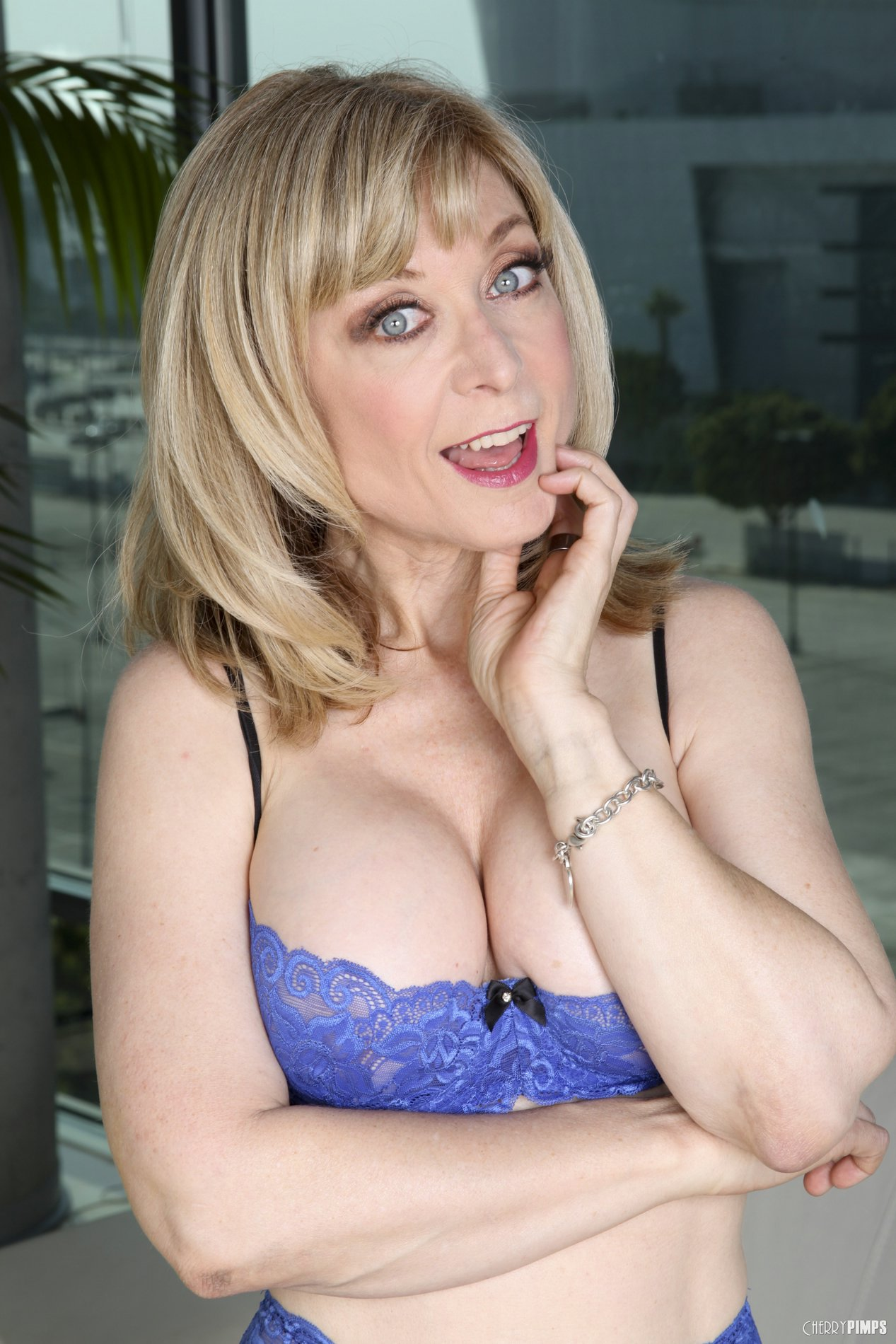Nina Hartley In Black Stockings And Heels Posing And Playing With Dildo - My Pornstar Book-1484