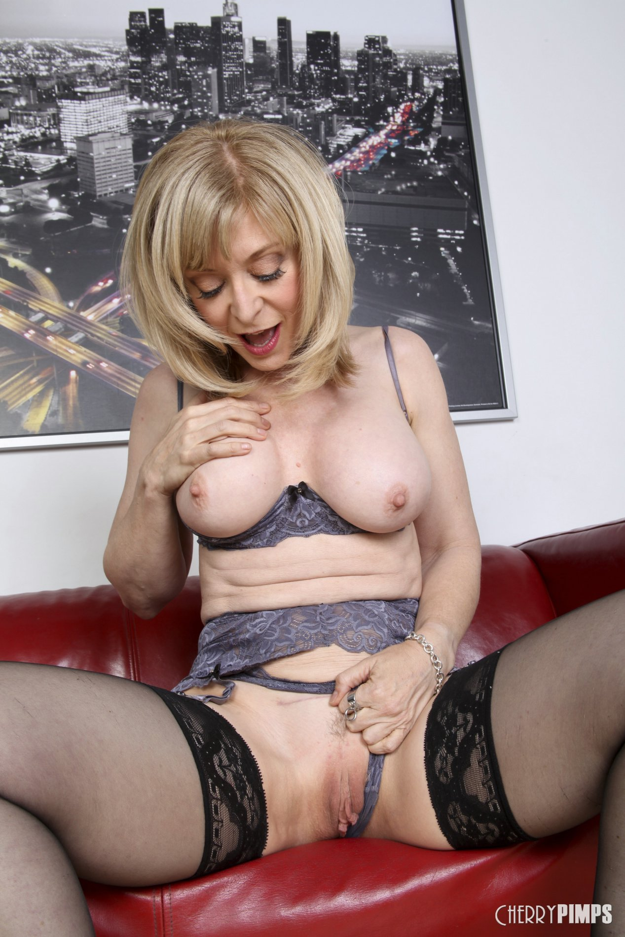 Nina Hartley In Black Stockings And Heels Poses For Camera - My Pornstar Book-7114