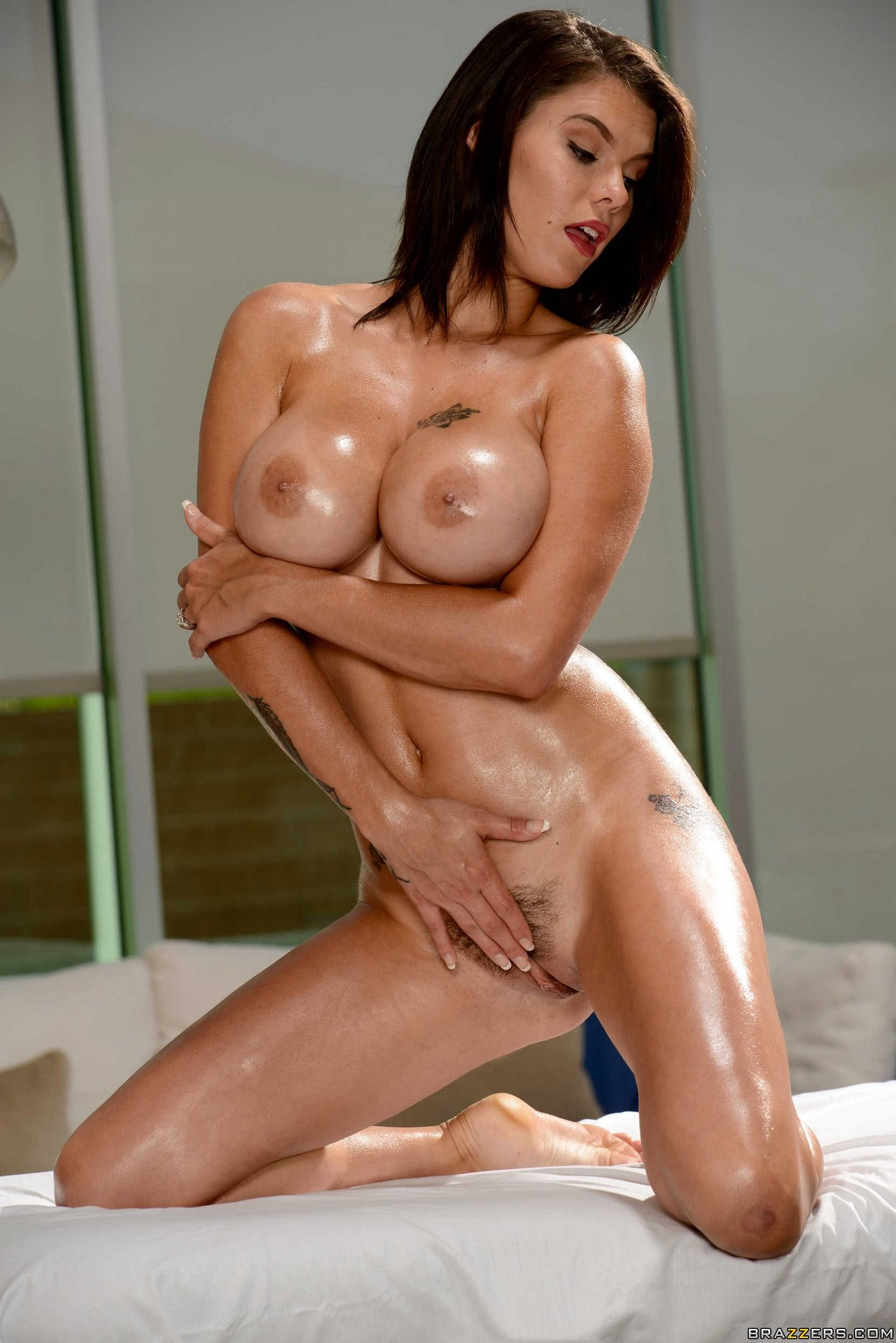 Beautiful naked brunette creamy flesh was