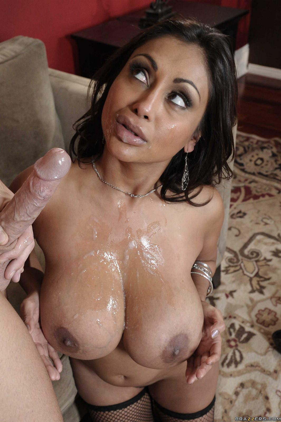 image Busty milf joslyn james titfuck and huge facial cum pov