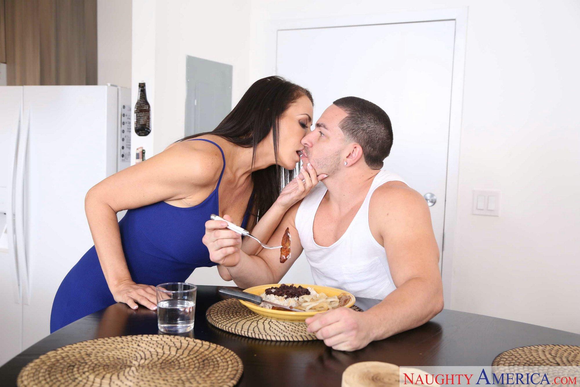 Busty cougar Lezley Zen seduces her son's friend for hard sex on sofa  1042049