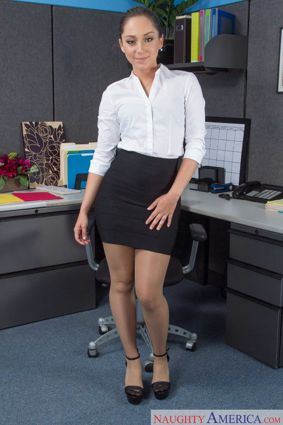 Blonde office milf in frilly red satin blouse fucked 4