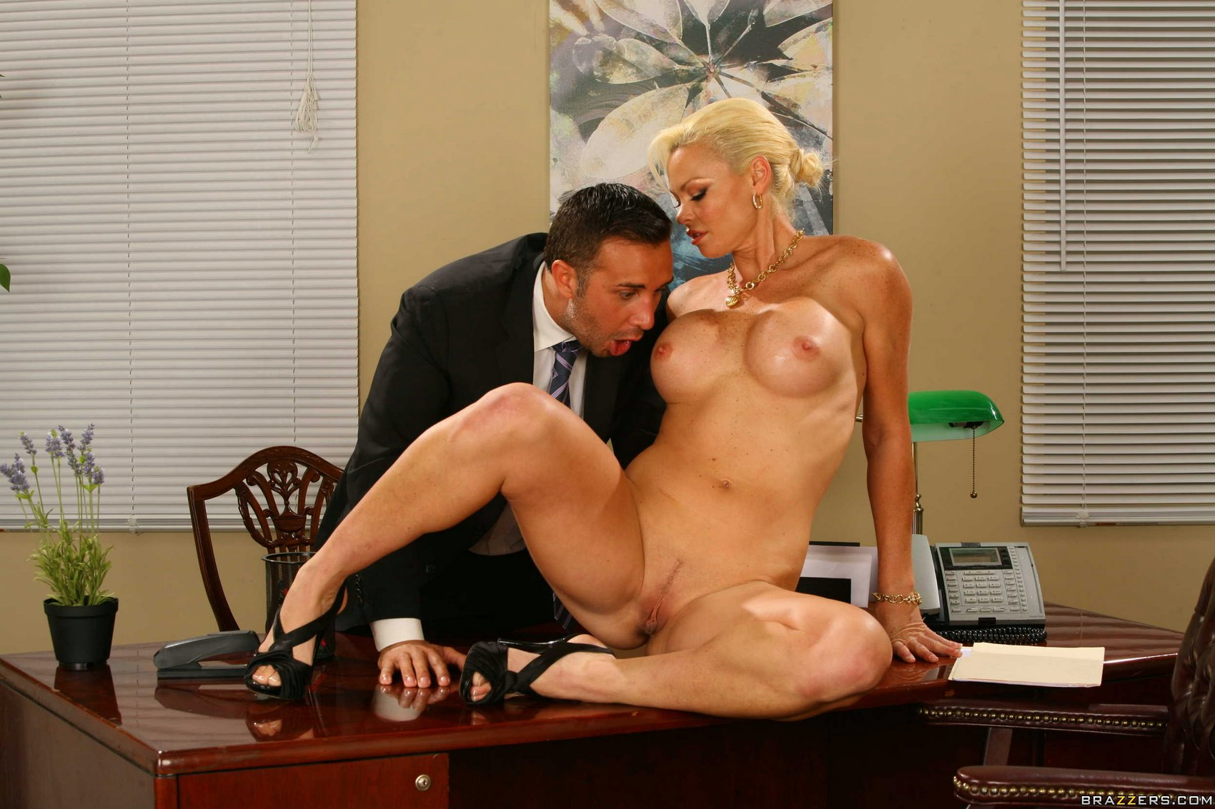 Hot russian office blonde fucking on the table