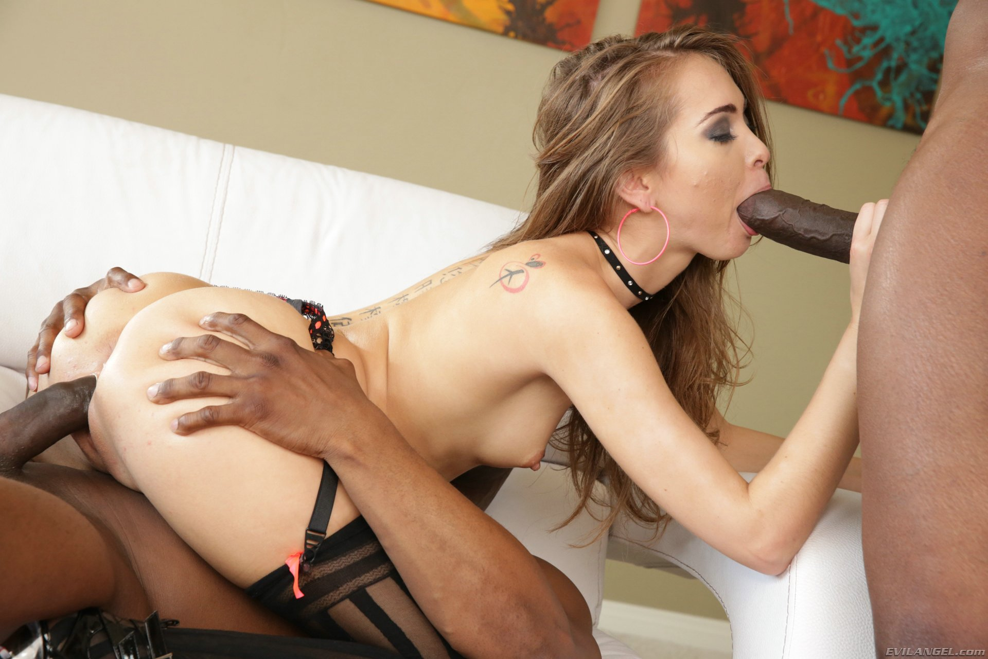 riley reid in sexy stockings sucking and fucking two black