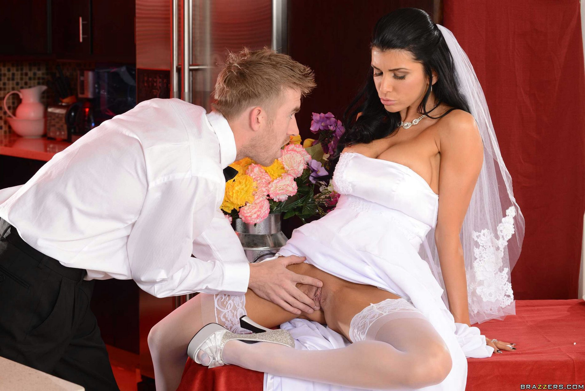 bride pussy Naughty bride Romi Rain takes huge dick in her tight pussy.