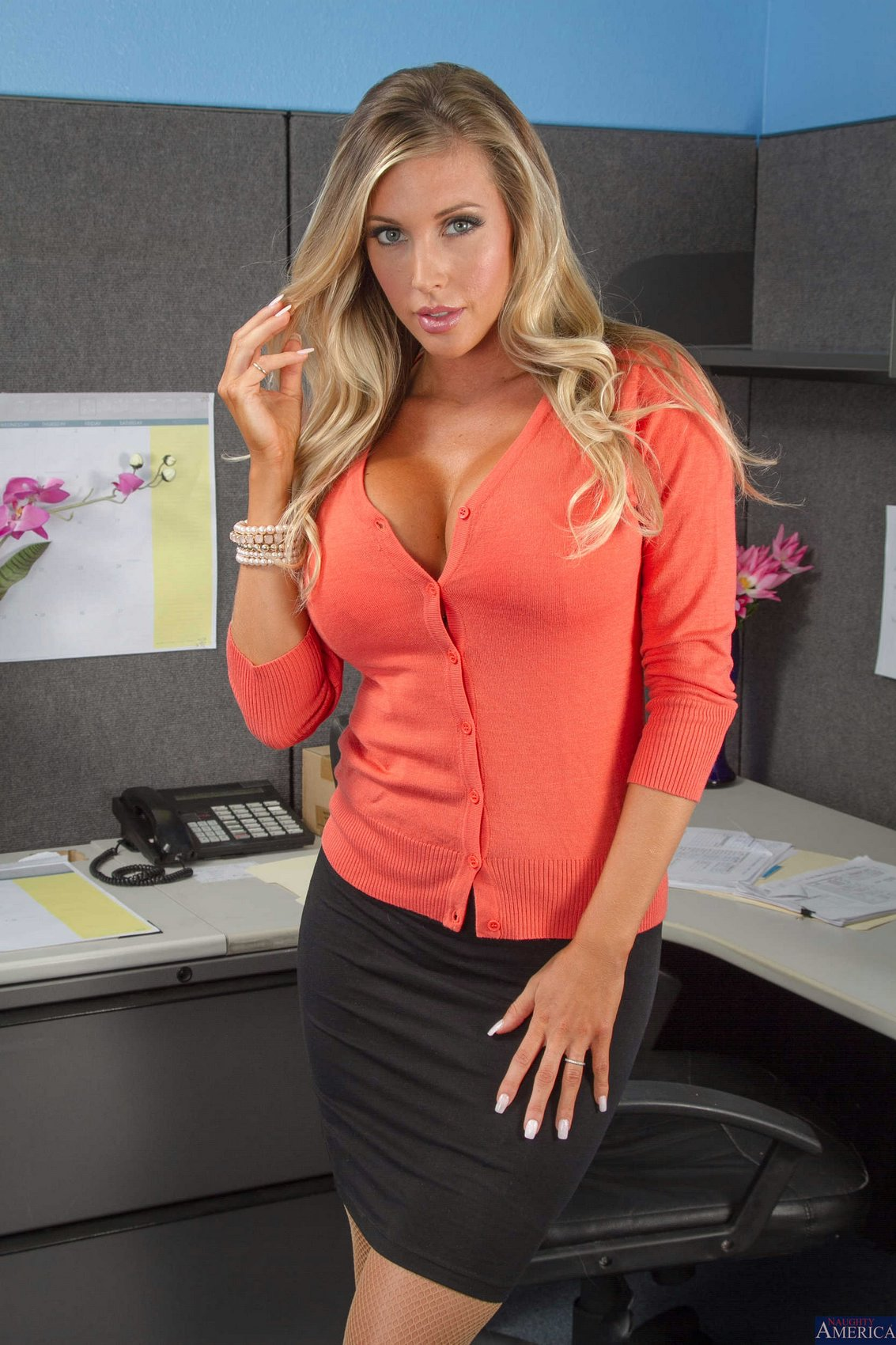 Samantha Saint In Sexy Stockings Posing For Your Pleasure In The Office - My Pornstar Book-7568