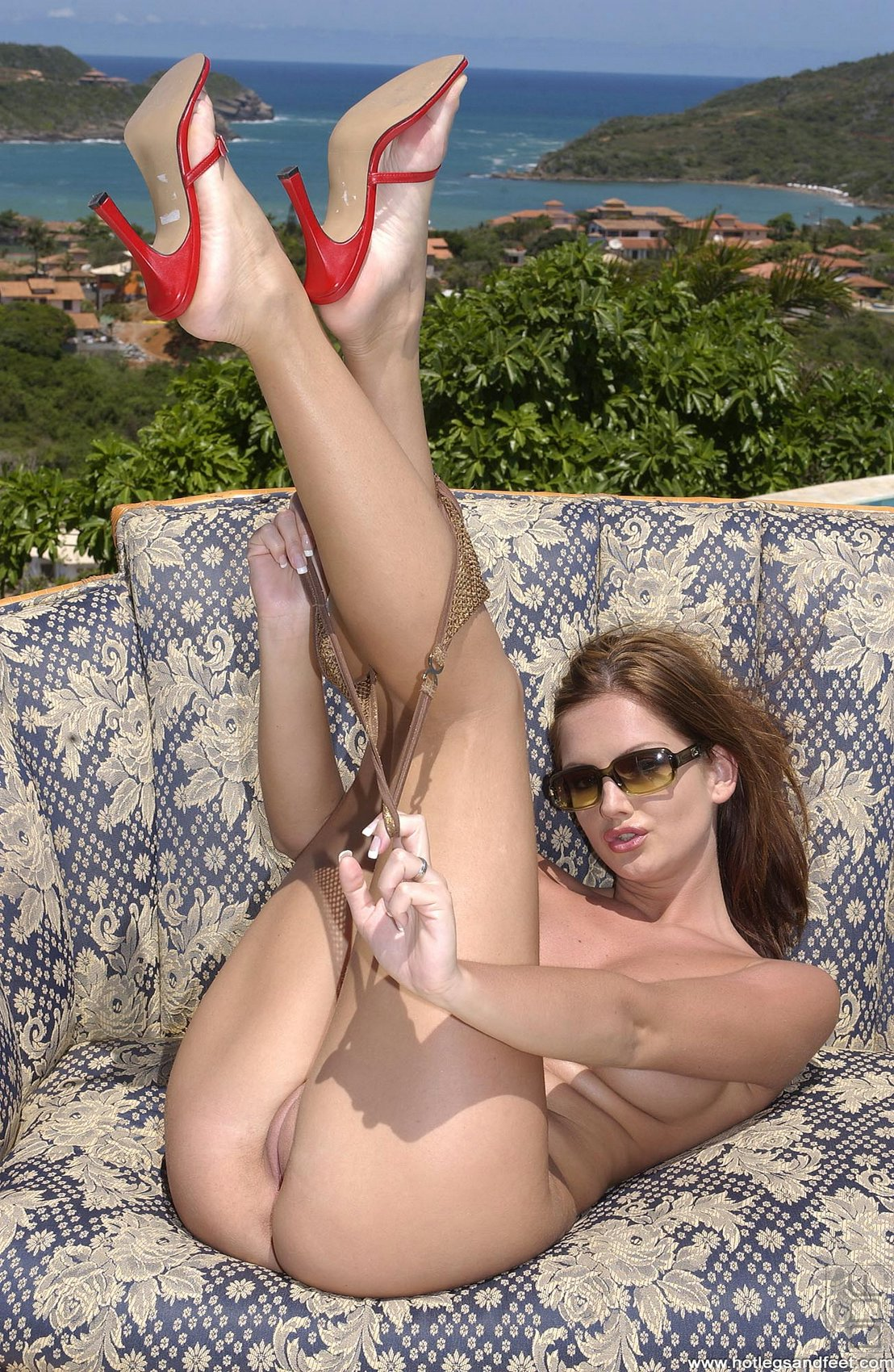 Sandra Shine showing off her amazing legs and feet outdoor ...