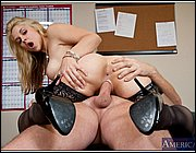 Sarah Vandella seducing her older co-worker in the office.
