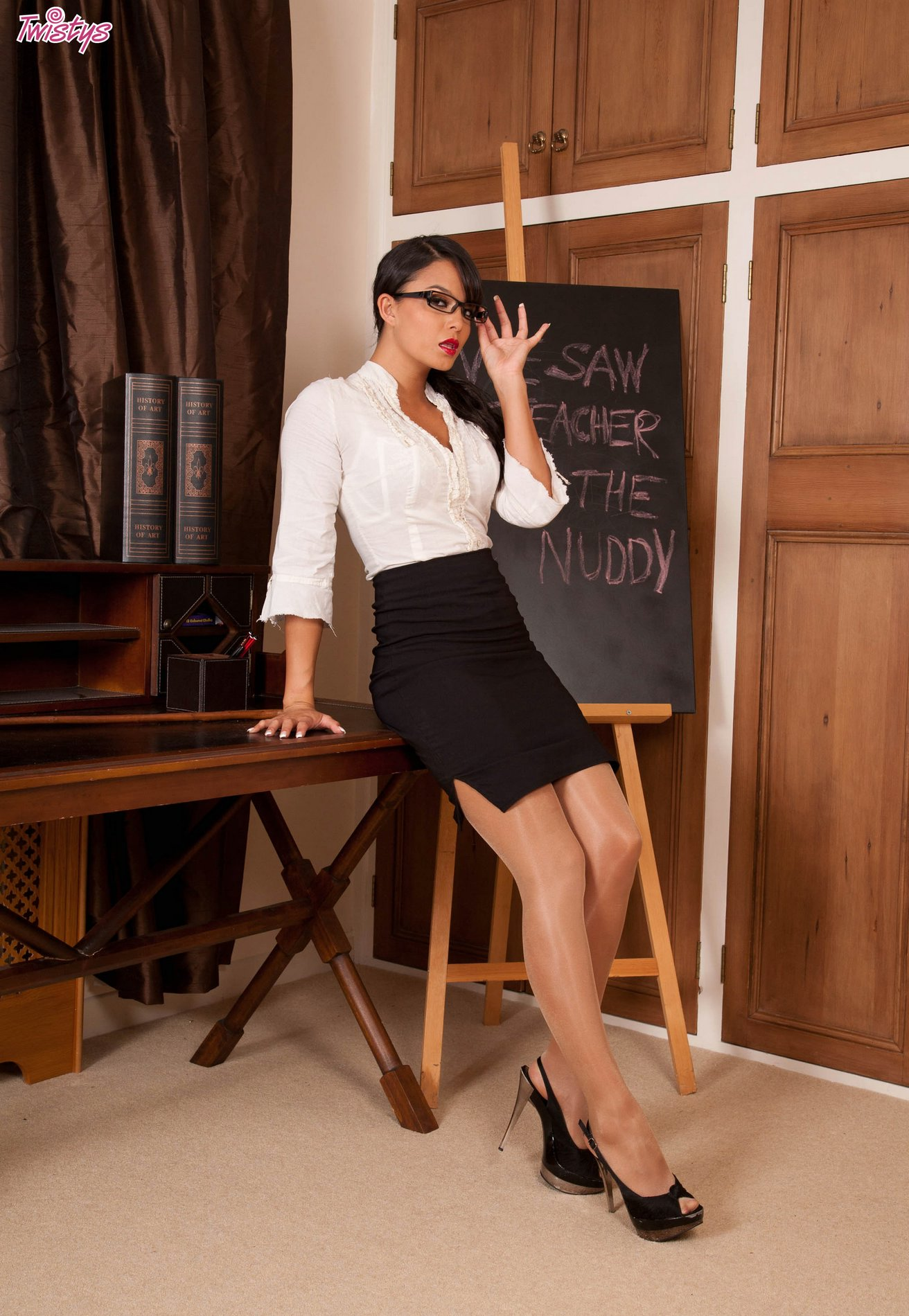 Professor Sasha Cane In Stockings And Heels Strips For -4095