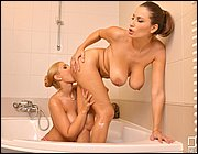 Sensual Jane and Kyra Hot having hot sex in the bathroom.