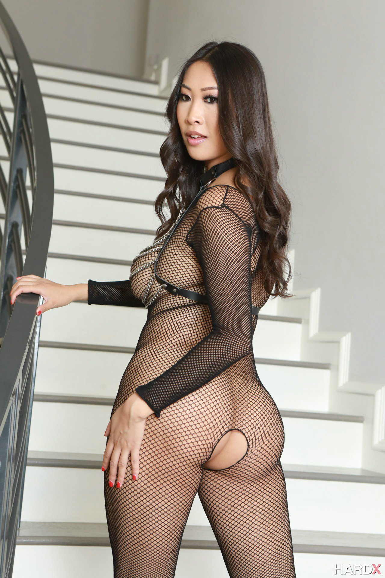Sharon Lee In Black Body Stockings And Sexy Boots Exposing -4473