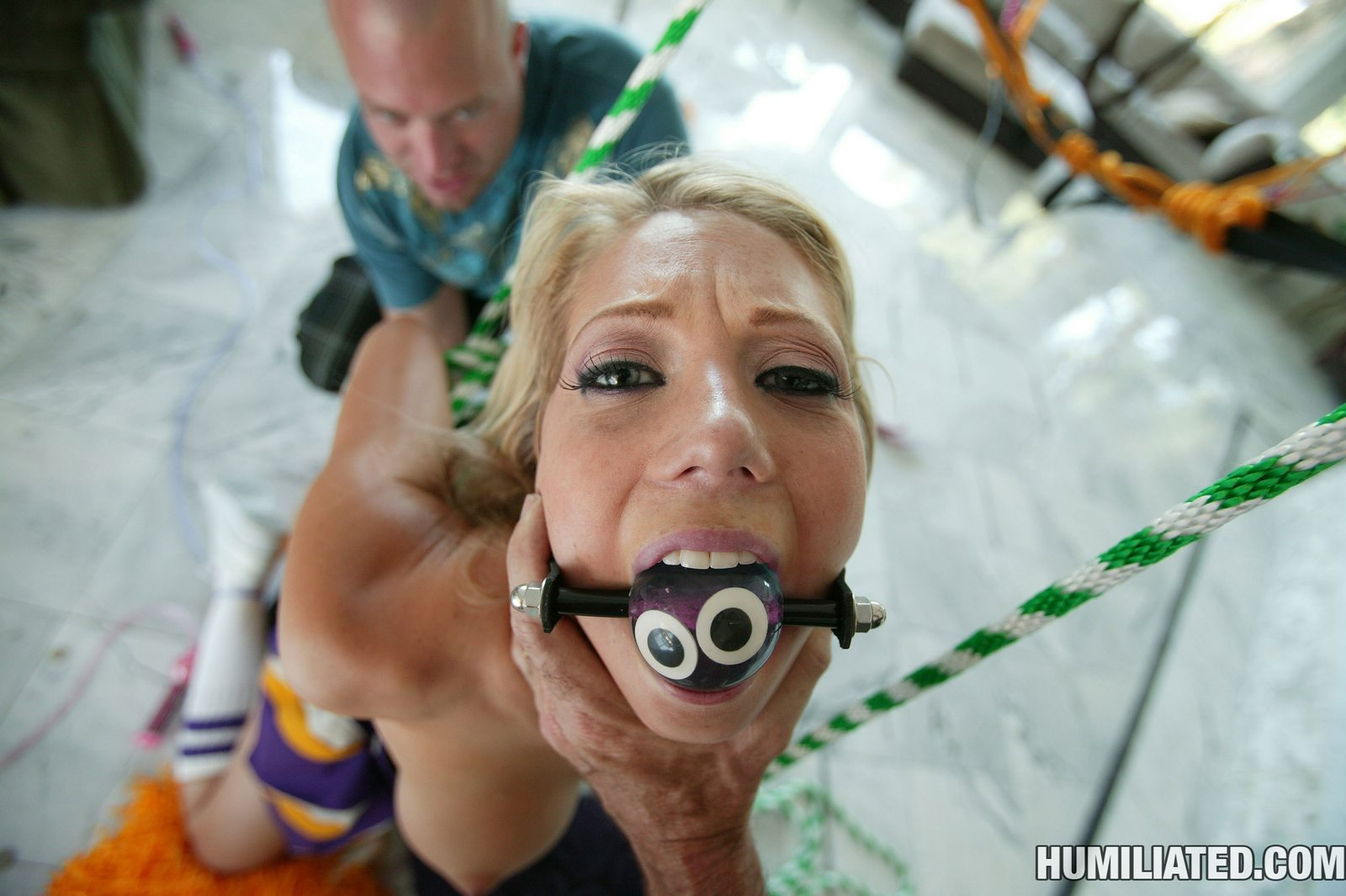 Tied up and ball gagged slut forced to suck gets facial - 3 part 7