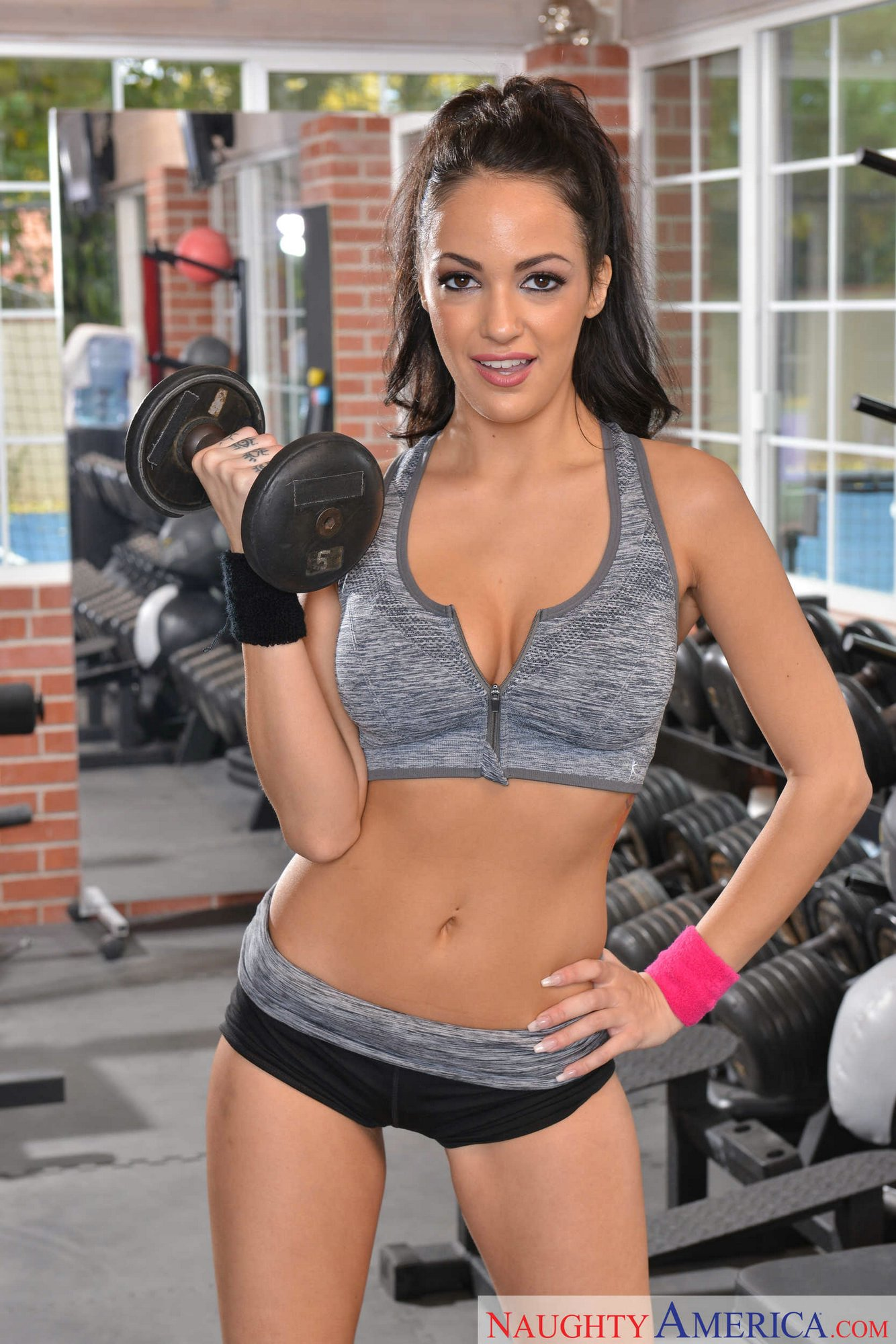 Threesome in the gym photos