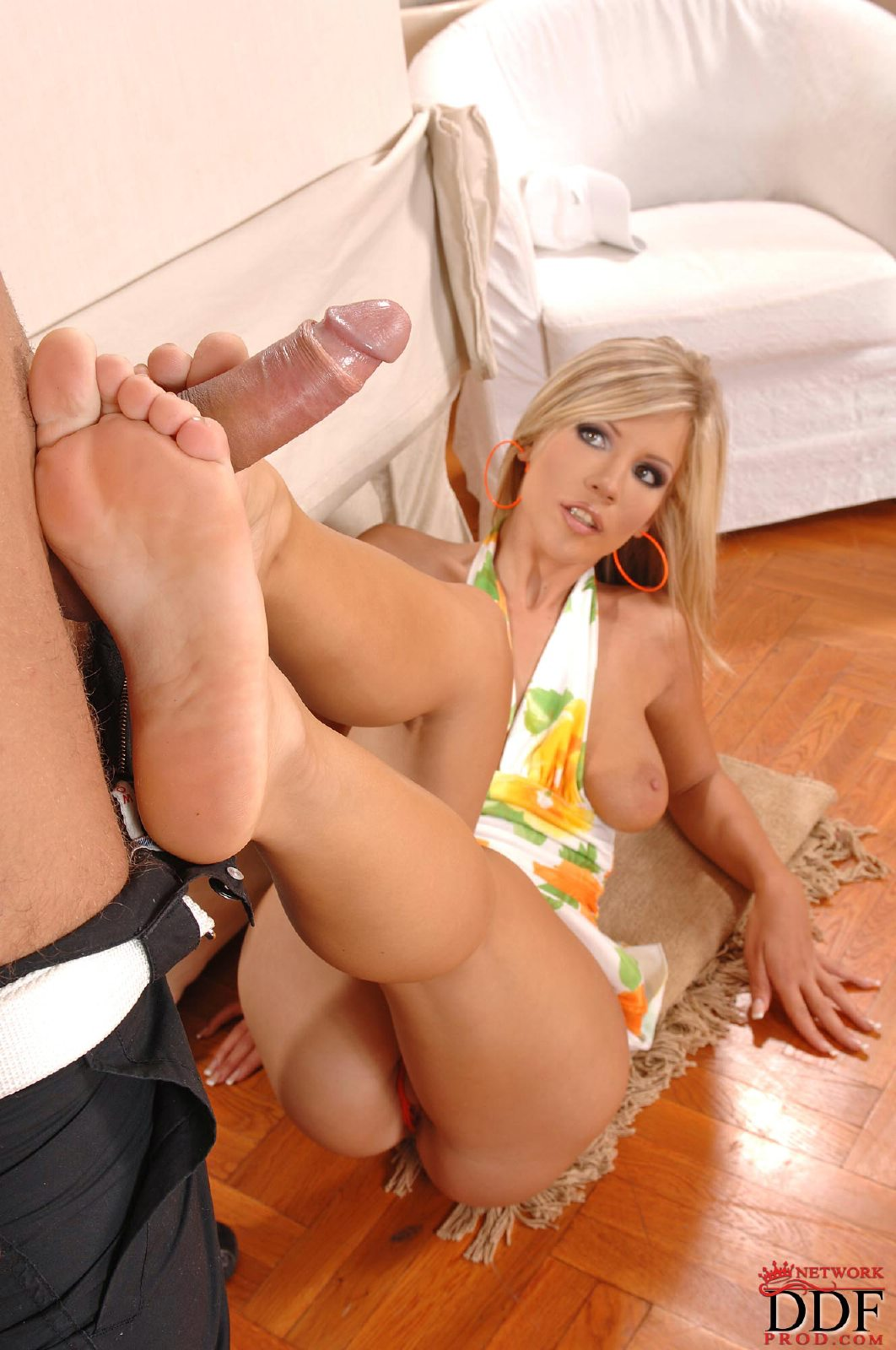 Cute blonde giving a footjob and getting fucked in ripped up thigh highs