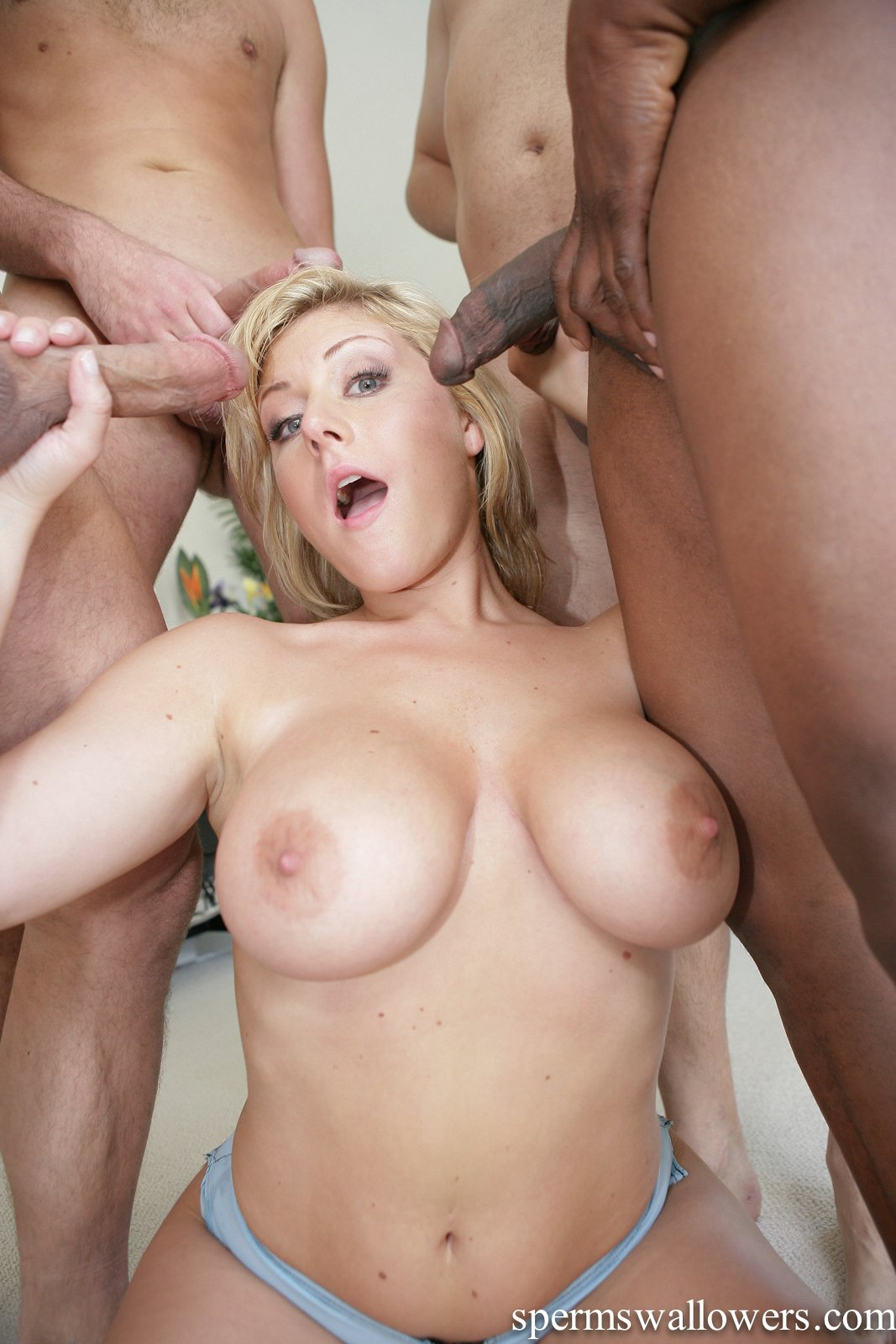 image Threesome with a fat blonde housewife