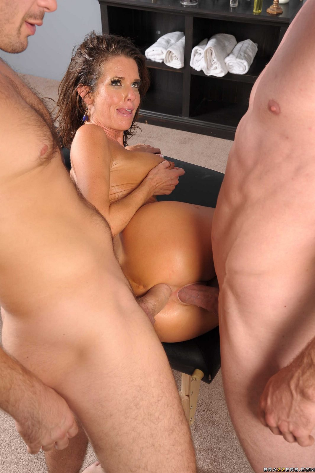image Hot milf hard fucking a guy s ass with strapon and cum drinking